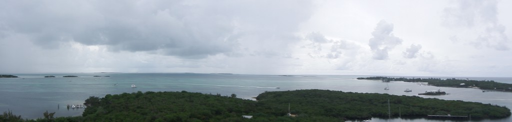Looking to the North. Parrot Keys on the left and the top of Elbow Cay on the right.