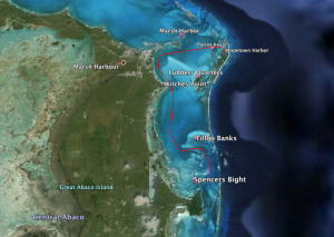 The route from Little Harbor to Hopetown. Note that the lighter the color of the water the shallower (around 2 ft) it is.